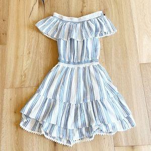 LOVESHACKFANCY Off Shoulder Striped Ruffle Dress